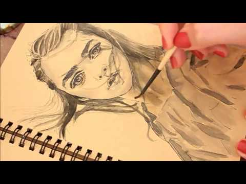 Time Lapse Drawing Arya Stark (Game Of Thrones)  | Ink & Pen Portrait