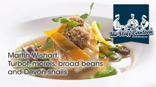 Michelin star Martin Wishart cooks pan roasted Turbot, morels, broad beans and Devon snails