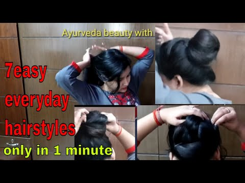 7 easy everyday hairstyles for long hair/self bun hairstyles for college, office- bunstick hairstyle