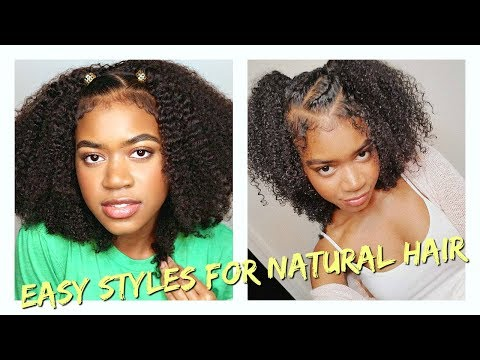 EASY Hairstyles for Natural Hair (Half Up Half Down)