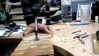 Bosch UNEO Maxx - сверление перьевым сверлом Ф32мм
