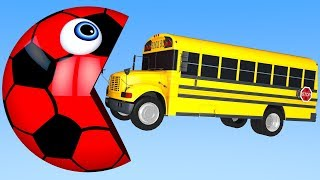 Learn Colors with PACMAN and School Bus Street Vehicle for Children