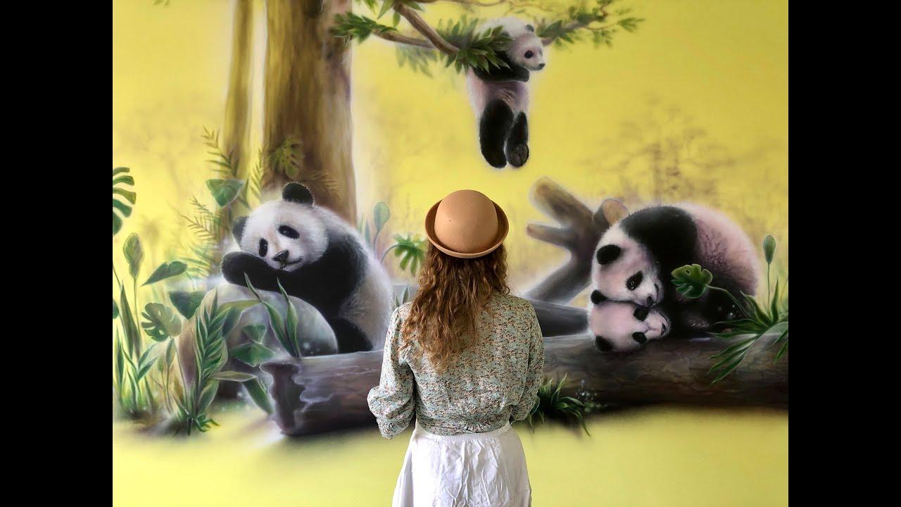 """Роспись стен """"Панды"""" г. Полтава. Детская больница."""