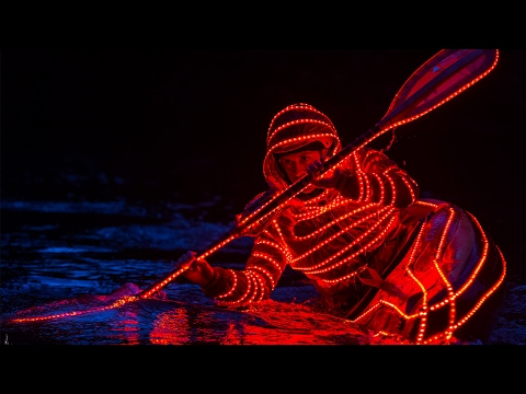 Whitewater Kayaking at Night with LEDs