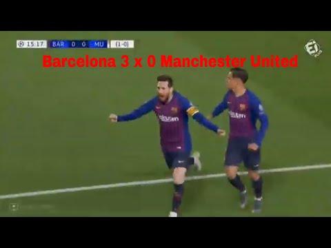 Barcelona 3 x 0 Manchester United Melhores Momentos Show de Messi e Coutinho