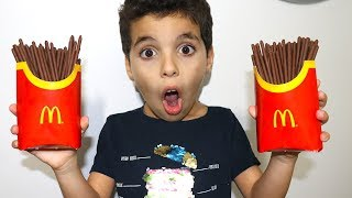 French Fries chocolate McDonald's ,pretend play ,funny videos for kids