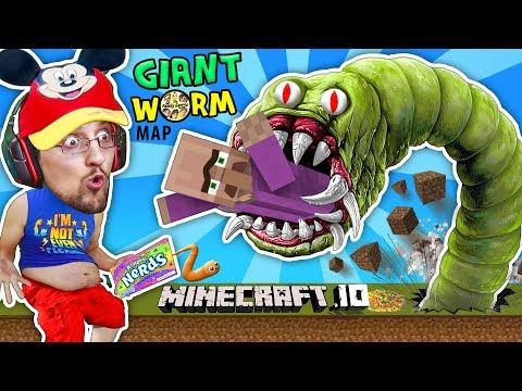 FGTEEV FAT BABY EATS VILLAGERS in MINECRAFT.io Destructive Worms Slither.io Mini-Game Adventure Map (видео)
