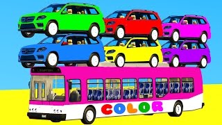 Video LEARN COLORS with SUV Cars on BUS & Spiderman Cartoon 3D w Superheroes for kids and babies MP3, 3GP, MP4, WEBM, AVI, FLV Mei 2017