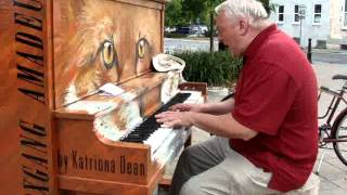 Talented Old Man Street Piano Player Singer, Perfect Hedley Song