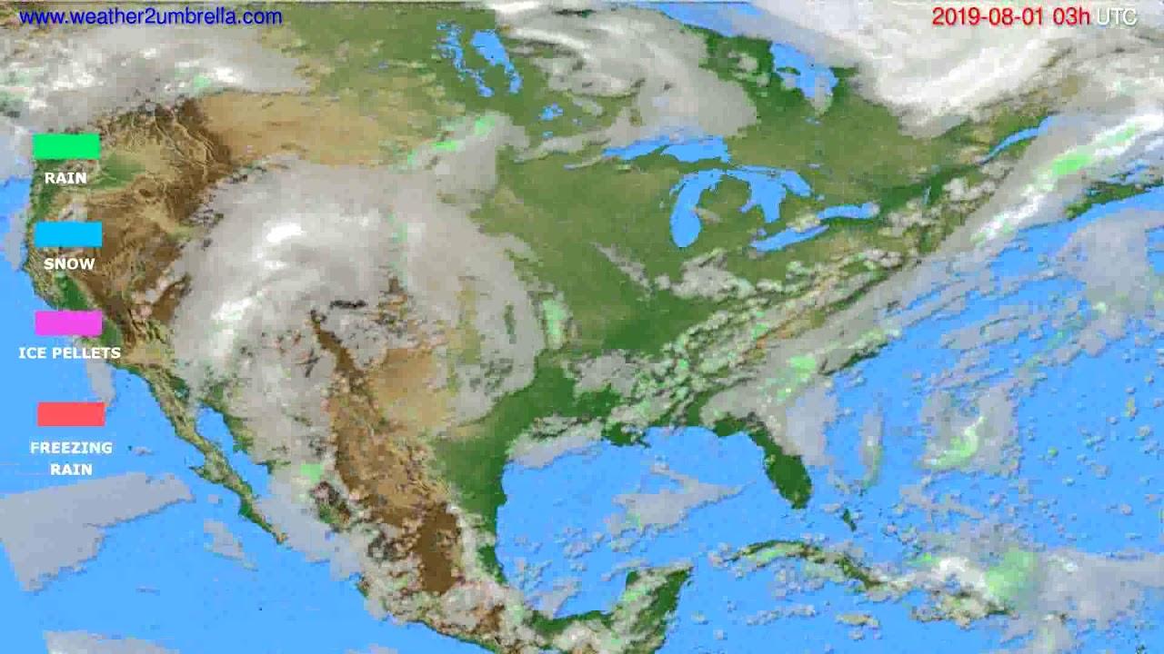 Precipitation forecast USA & Canada // modelrun: 00h UTC 2019-07-29