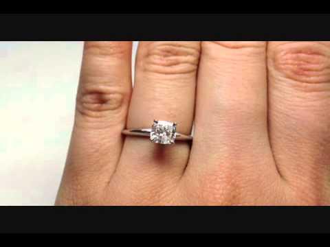 1.02 ct Cushion Cut F-SI1 Diamond Solitaire Ring - BigDiamondsUSA