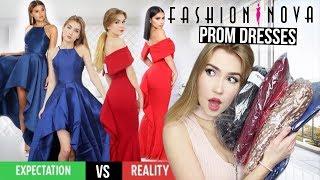 TRYING ON FASHION NOVA PROM DRESSES!! *Success*