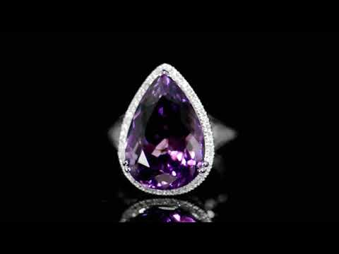 Lady's 14k White Gold 11.45ct Amethyst and Diamond Ring
