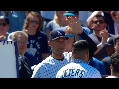 yankee stadium - 9/7/14: Derek Jeter receives praise from teammates and managers, addresses the fans, runs out an infield single and reflects on the day Check out http://m.ml...