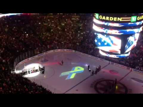 National - http://aol.sportingnews.com/nhl/story/2013-04-17/national-anthem-bruins-game-boston-marathon-bombings Rene Rancourt starts singing, and then the TD Garden cr...