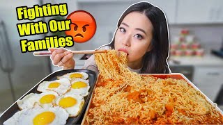 SPICY KIMCHI RAMEN NOODLES + FRIED EGGS MUKBANG   Eating Show