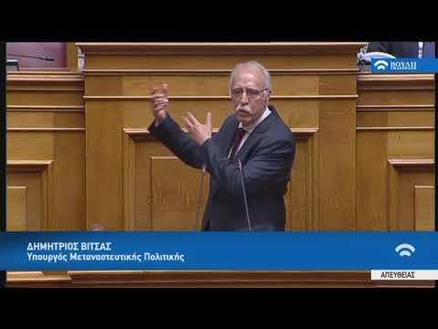 Δ.Βίτσας(Υπουργός Μεταναστευτικής Πολιτικής)(Ψήφος εμπιστοσύνης στην Κυβέρνηση)(09/05/2019)
