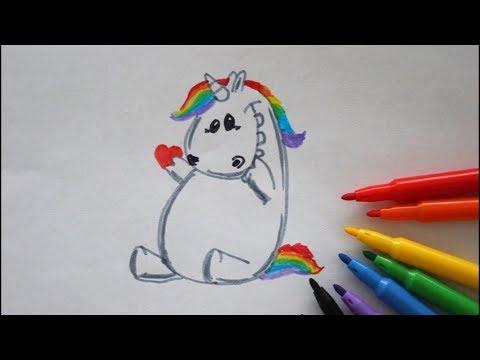 🦄❤ Pummel Einhorn zeichnen mit Herz - How to draw Unicorn with Heart - как рисовать единорога
