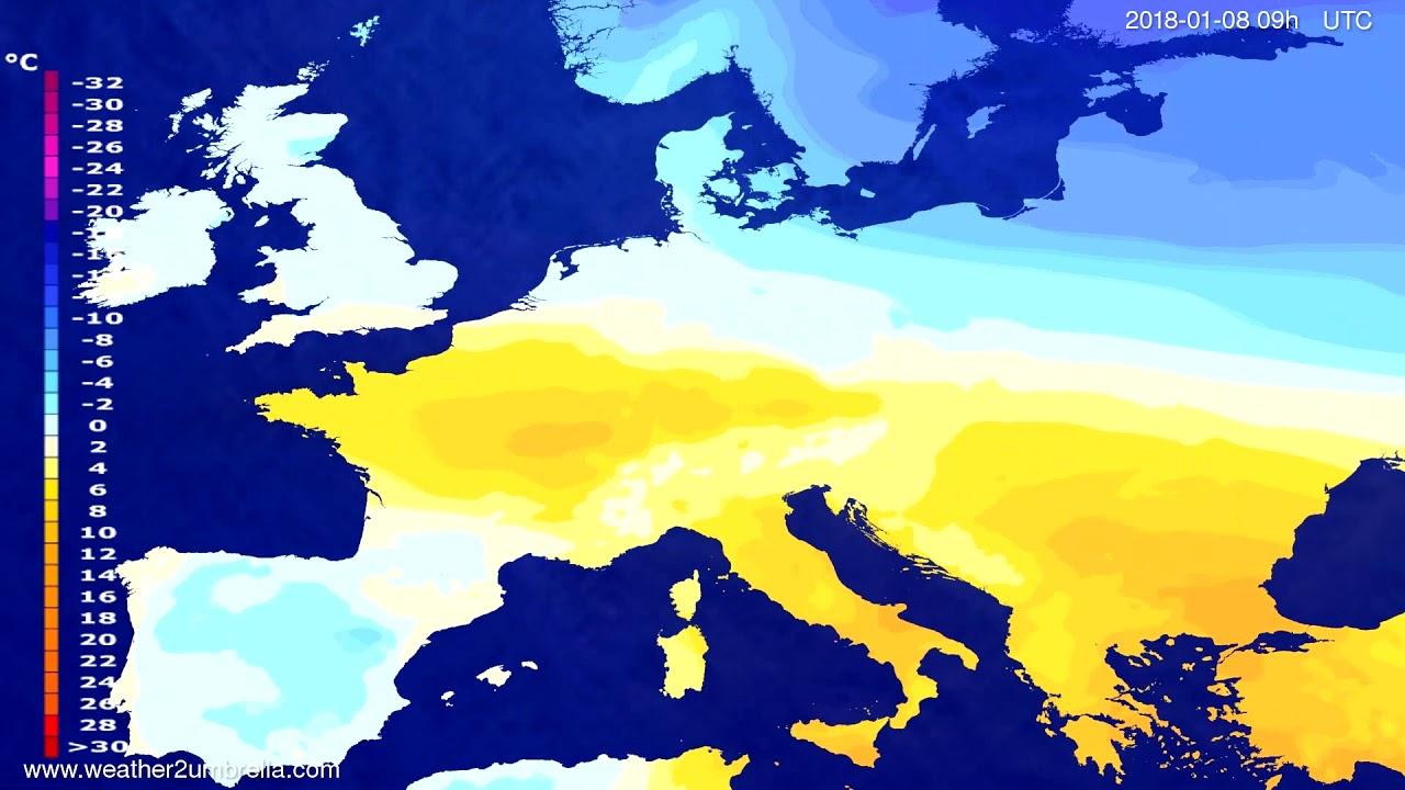 Temperature forecast Europe 2018-01-04