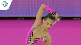UEG Official – 33rd European Rhythmic Gymnastics Championships, Budapest (HUN), May 19-21, 2017. Clubs Final : Linoy ASHRAM (ISR), 17.750 (Difficulty : 9.400, Execution : 8.350). Rank : 3.Follow the European Union of Gymnastics on its channels to stay up to date with their latest news!