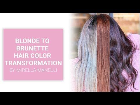 Blonde to brunette hair color transformation by Mirella Manelli  Kenra Color
