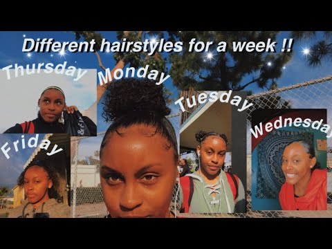 WEARING DIFFERENT NATURAL CURLY HAIRSTYLES TO SCHOOL FOR A WEEK