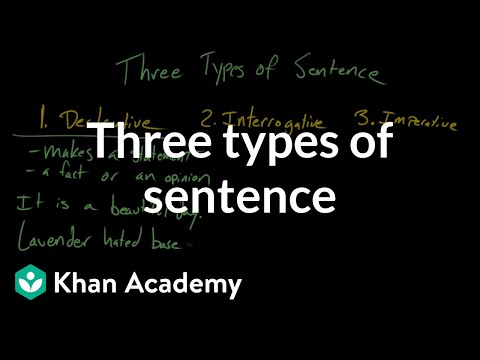 Three Types Of Sentence Video Khan Academy