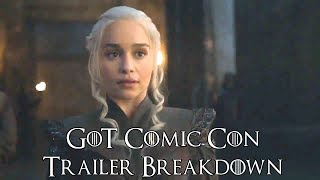 I break down the Comic con trailer for Game of Thrones. I go over the new things we get from the trailer. PS I don't know why its so...