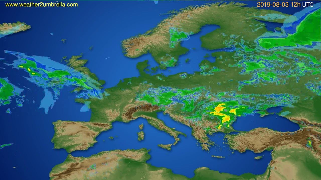 Radar forecast Europe // modelrun: 00h UTC 2019-08-03
