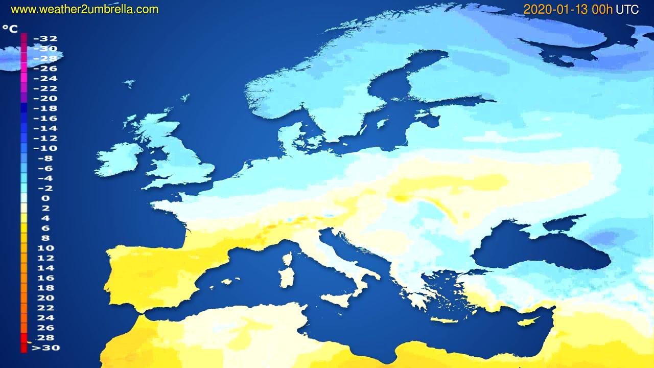 Temperature forecast Europe // modelrun: 00h UTC 2020-01-12