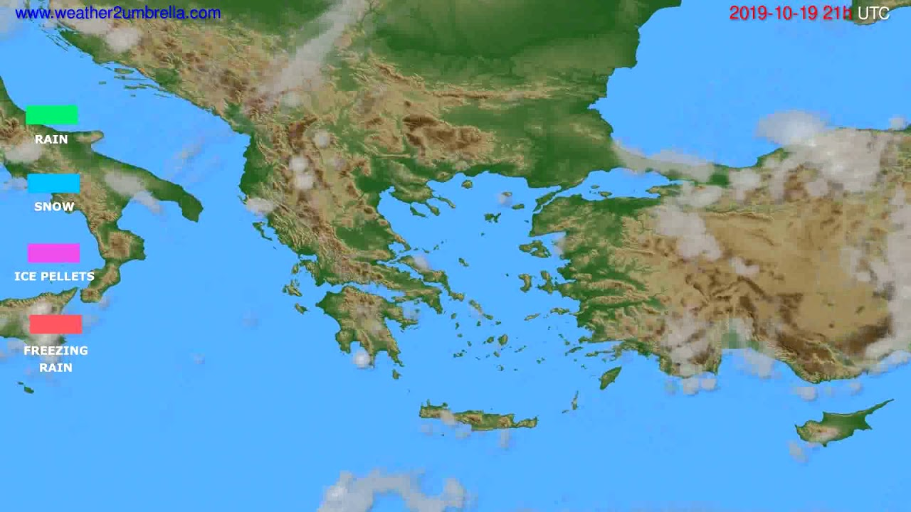 Precipitation forecast Greece // modelrun: 00h UTC 2019-10-18