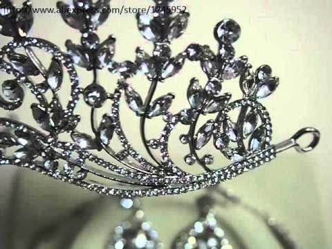 Big Size Luxury Wedding Jewelry Sets for Brides Tiara Necklace topo de bolo casamento Costume Jewelr