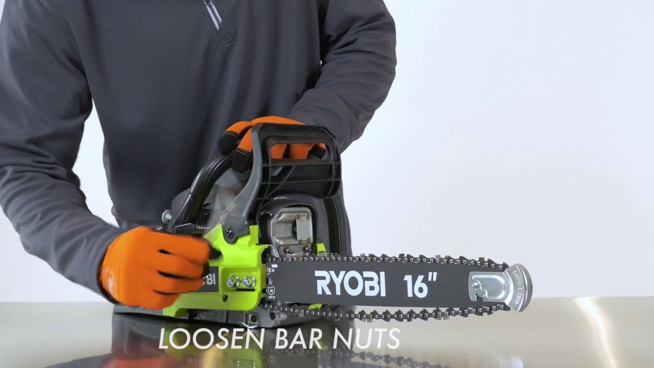 How to tighten a chain saw chain ryobi landscapes a chain saw chain can start to loosen and sag over the course of normal use it is always best and safest to operate your chain saw with a taut chain greentooth Images