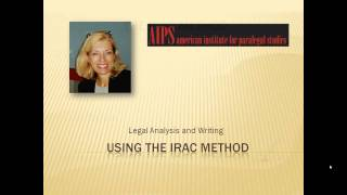 Paralegal Legal Writing:  Using The IRAC Method