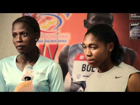 Pamela Jelimo and Caster Semenya - interview before Ostrava Golden Spike 2012