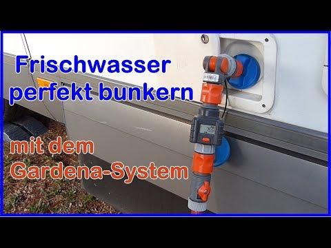 Wohnmobil Frischwasser - Trinkwasser  tanken, bunkern. Mit dem Gardena - System mit  Wasserzähler