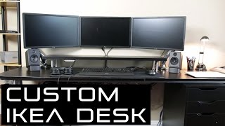 In this video I go over my custom IKEA Desk setup for work and gaming and what I have used to create it.  Cable management in progress... Subscribe for more videosLinks below:NB F100 Mount: US: http://amzn.to/2jBwVJkUK: http://amzn.to/2jd8xBpMy Equipment:Audioengine A2+: http://amzn.to/2kGayYeAudioengine D1 DAC: http://amzn.to/2lFzZZVSpeaker Stands: http://amzn.to/2lFuTNiAudiotechnica ATH-M50X: http://amzn.to/2kFWbn2Parts used for Desk Setup:Capita Legs: Article Number 602.635.74Alex Drawer unit: Article Number 403.422.85T-Leg:Article Number 200.569.15Table Top: Article Number 701.052.54Table Top Extension: Article Number 901.052.67Frame Extension: Article Number 100.568.88Frame: Article Number 200.568.83