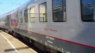 Abfahrt 181 209-8 mit Zug Moskau - Paris in Karlsruhe Hbf