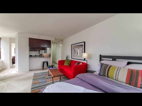 A bright, spacious studio at McClurg Court in Streeterville