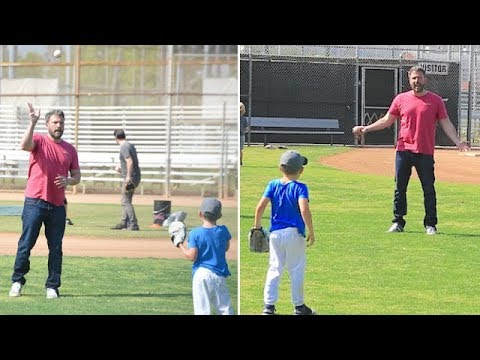 EXCLUSIVE - Ben Affleck Gives Son Samuel A Few Pointers On The Baseball Diamond