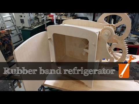 A refrigerator that works by stretching rubber bands