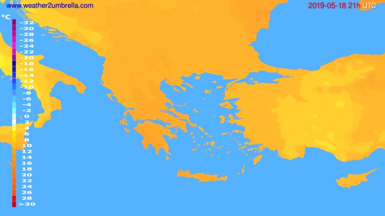 Temperature forecast Greece // modelrun: 12h UTC 2019-05-16