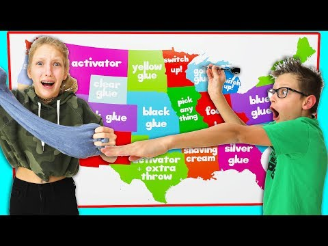 Throwing Darts at a Map and Making Slime Challenge!!!
