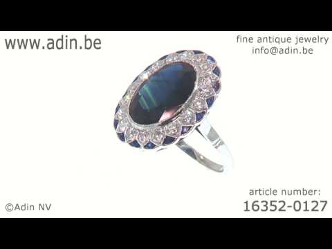 Art Deco diamond and sapphire engagement ring model Lady Di. (Adin reference: 16352-0127)