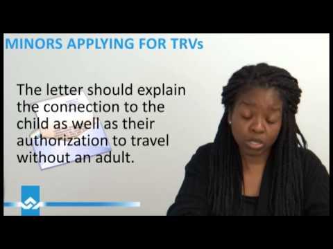 Minor Applying for Temporary Resident Visa TRV Video