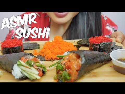 ASMR SUSHI (Tobiko Eggs + Salmon, Tuna Cones) Satisfying Eating Sounds NO TALKING | SAS-ASMR