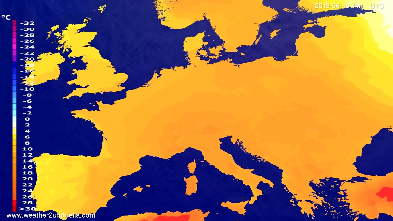 Temperature forecast Europe 2018-06-08