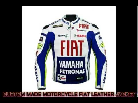 YAMAHA FIAT COWHIDE LEATHER MOTORBIKE RACING JACKET-CE APPROVED PROTECTIONS