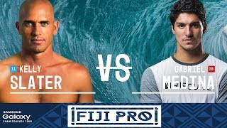 Gabriel Medina takes on Kelly Slater in Heat 1 of the Semifinals at the Fiji Pro 2016. Subscribe to the WSL for more action:...