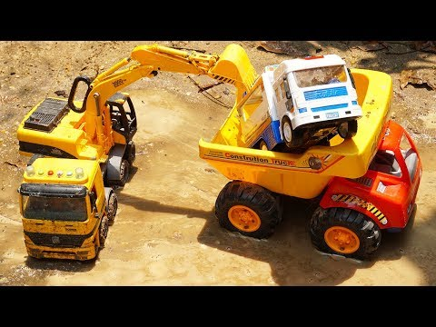 Excavator Trucks Rescue Police Car & Hulk Toys | Cars For Kids With Learn Colors Songs For Children